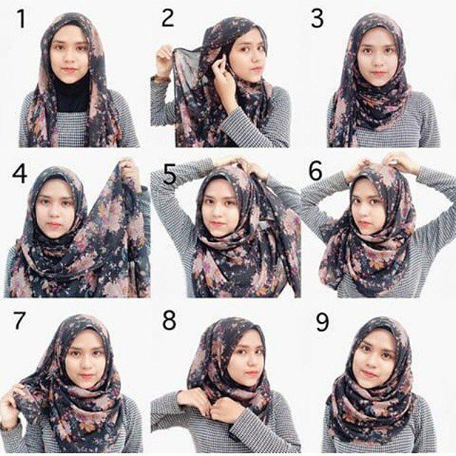 25+ Kreasi Tutorial Hijab Segi Empat Simple 2018