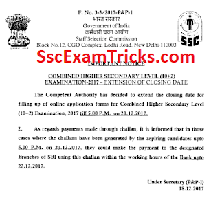 Last Date Extended for SSC CHSL LDC Clerk