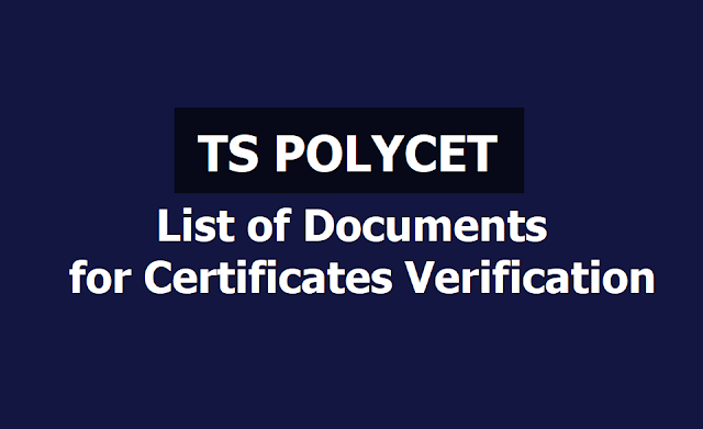 TS polycet 2019: List of documents for Certificates verification