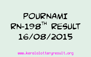 POURNAMI RN 198 Lottery Result 16-8-2015