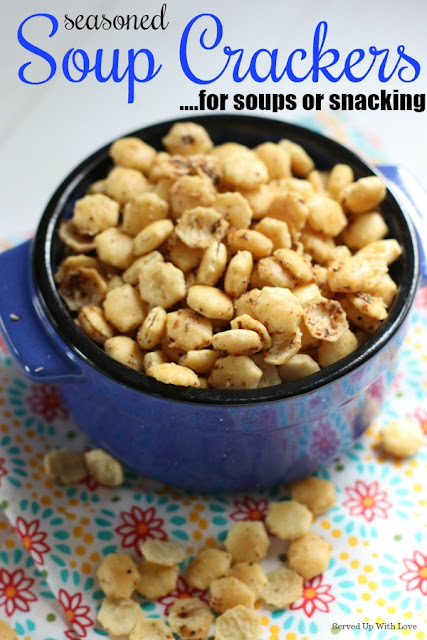 Seasoned Soup Crackers are the perfect topping to soup or a game day snack. You won't be able to stop eating these!