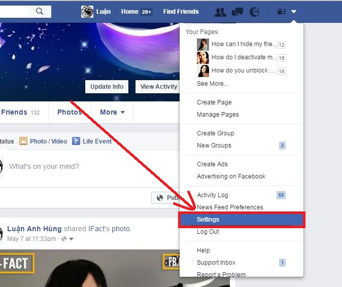 How to go to Facebook Settings step 2
