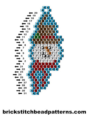 Click for a larger image of the Snow Man Smiling brick stitch bead pattern labeled color chart.
