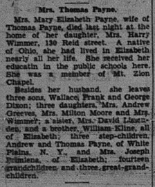 3 October 1938. Obituary for Mrs. Thomas Payne [Mary Elizabeth (Klein) (Dixon) Payne. Gives some life information and lists surviving family members including siblings, children, step-chilren.