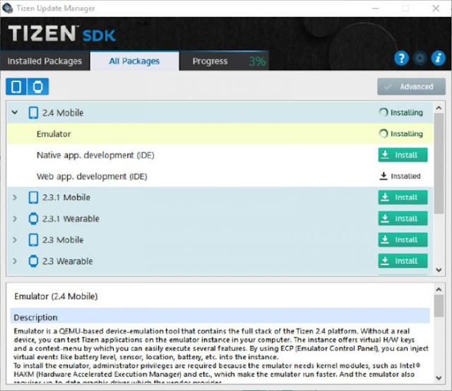 Tizen Update Manager window