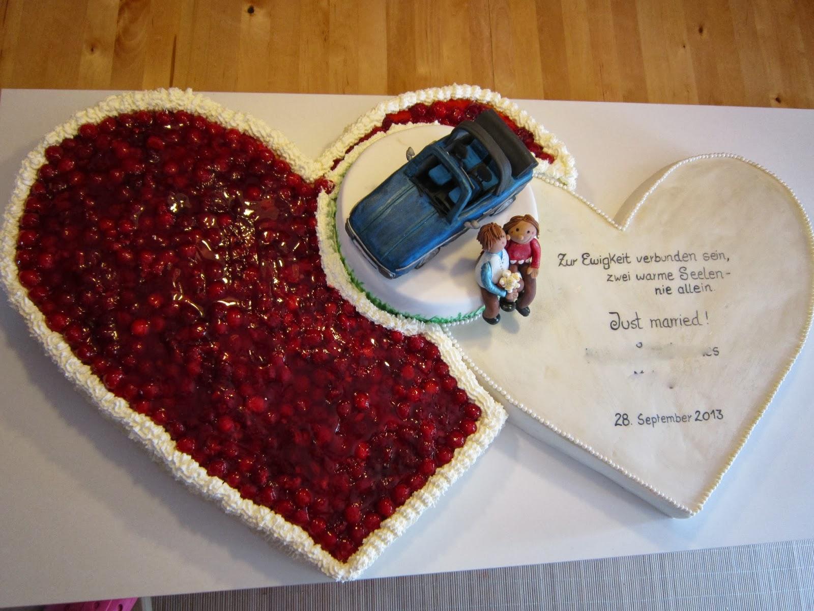 FONDANT TORTEN REISEN UND ICH Hochzeitstorte aus 2 Herzen mit Cabriolet
