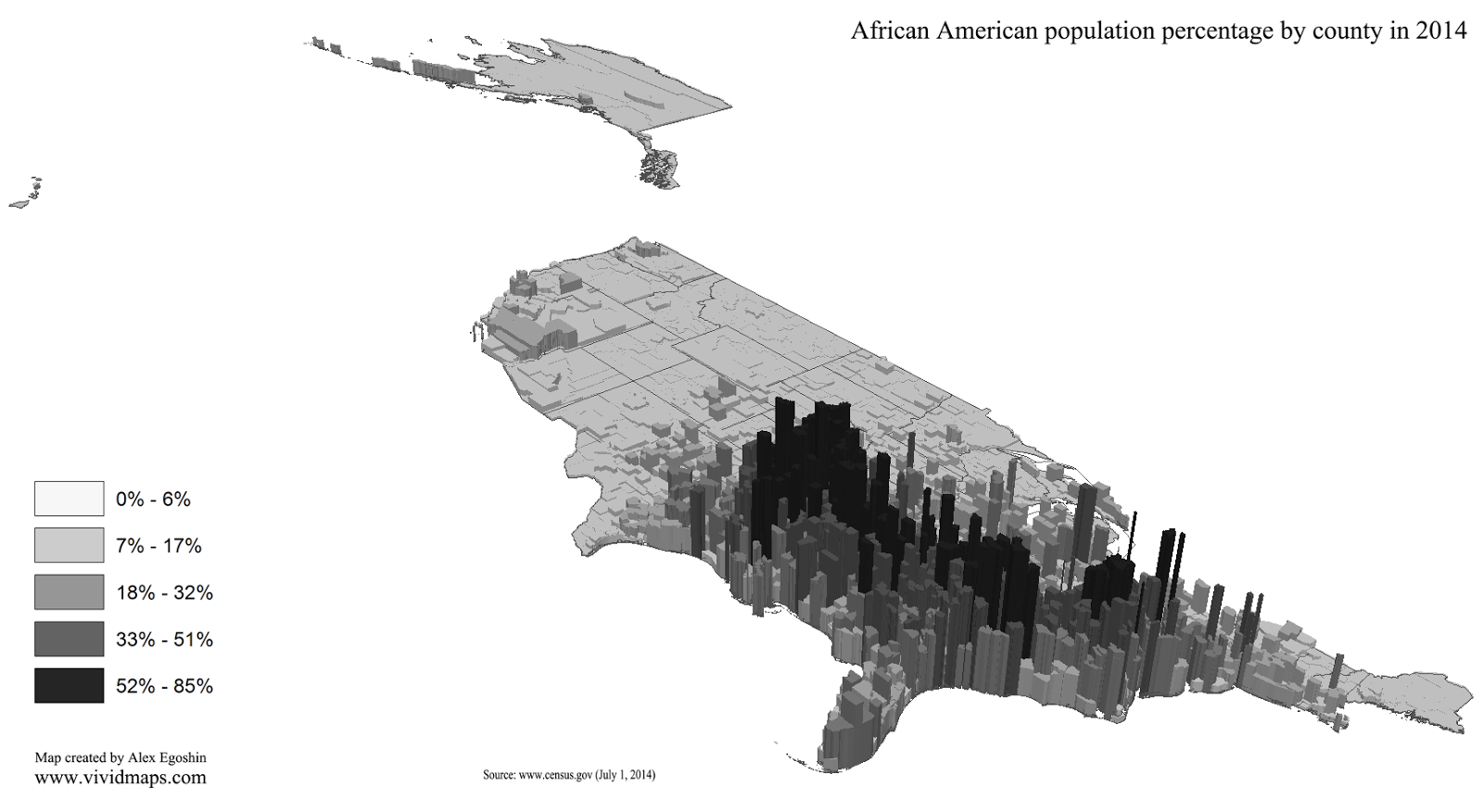 African American population percentage by county