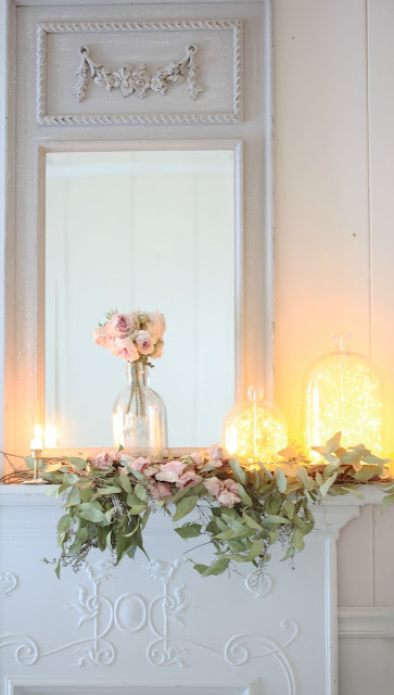 twinkle lights on mantel