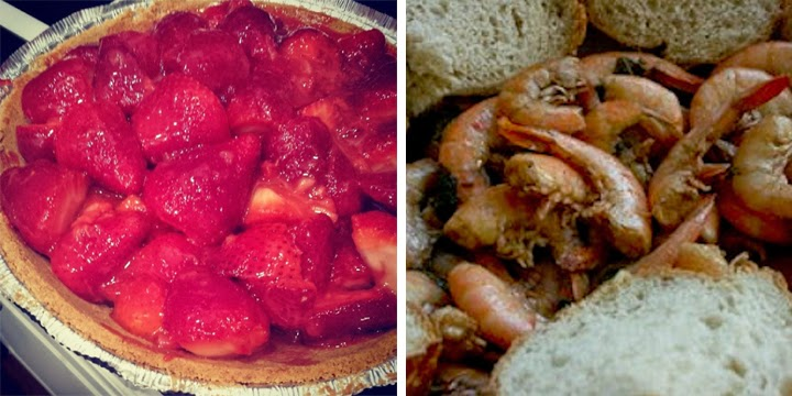 strawberry pie, barbecue shrimp