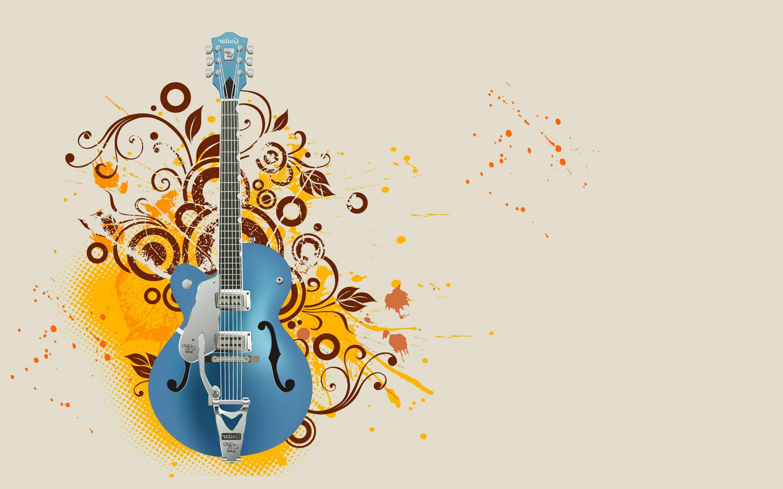 Abstract Guitar Wallpaper Hd: Calm Guitar Abstract Graphic Wallpaper