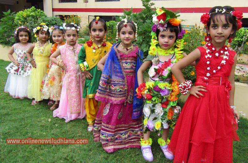 Students dressed up in colourful attires during Sawan Utsav Celebrations in Spring Dale