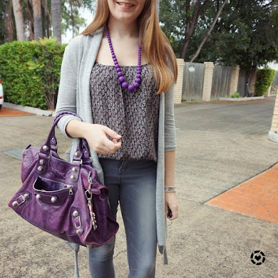 awayfromblue instagram grey cardi skinny jeans printed cami with purple teething necklace balenciaga work bag