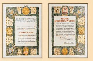 Dyplom Nagrody Nobla Marii Skłodowskiej-Curie 1911
