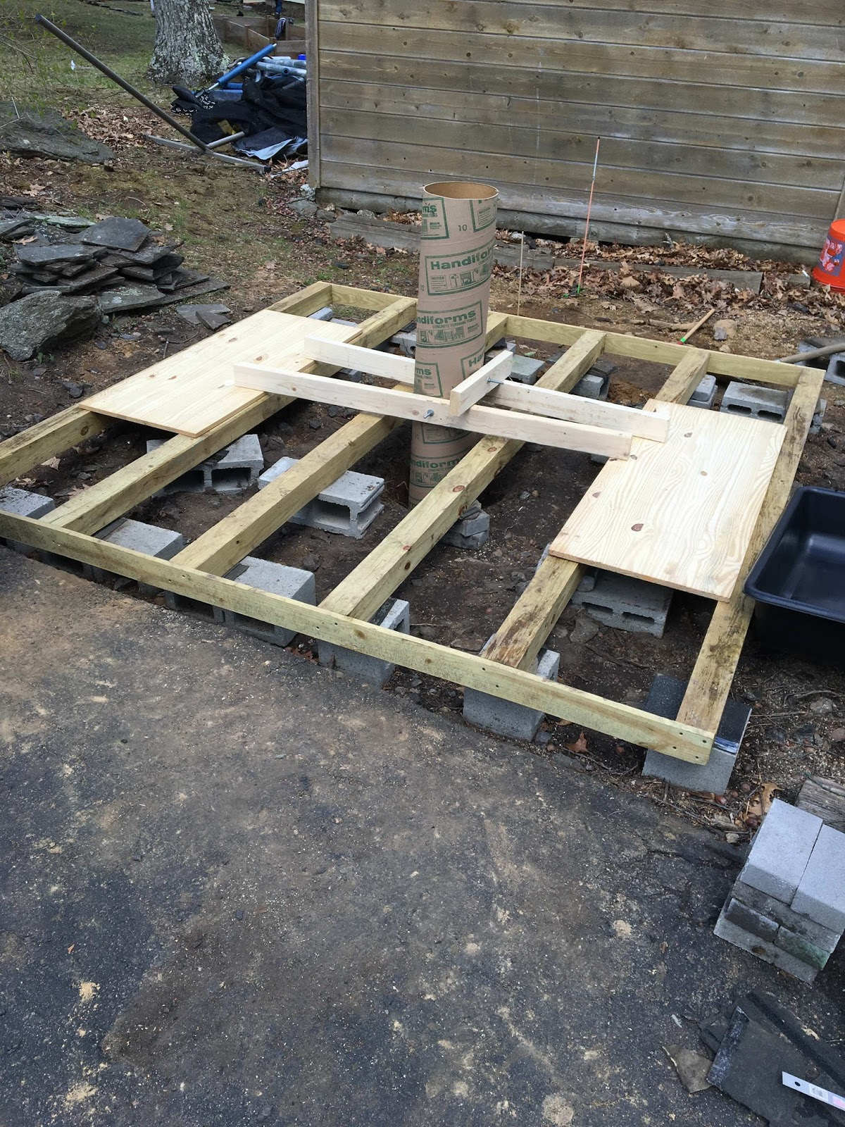 After Leveling The Ground As Best As Possible, Six 7u0027 10.5u0027 Pressure  Treated (PT) 4x4s Were Set On Paving Stones And Cinder Blocks Until They  Were Level.