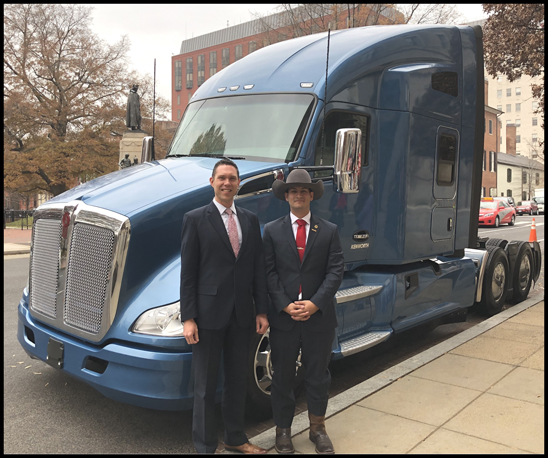 Kurt Swihart and Quinton Ward with his new Kenworth T680 Advantage