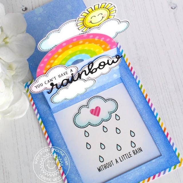 Sunny Studio Stamps: Over The Rainbow Sliding Window Die Rainbow Word Die Rainbow Themed Card by Leanne West