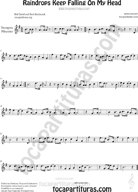 Trompeta y Fliscorno Partitura de Raindrops Keep Falling on my Head Sheet Music for Trumpet and Flugelhorn Music Scores
