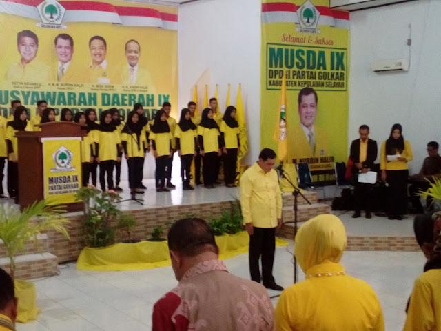 H.A.M Nurdin Halid, Pimpin Hening Cipta Pembukaan, Musda IX Golkar Selayar
