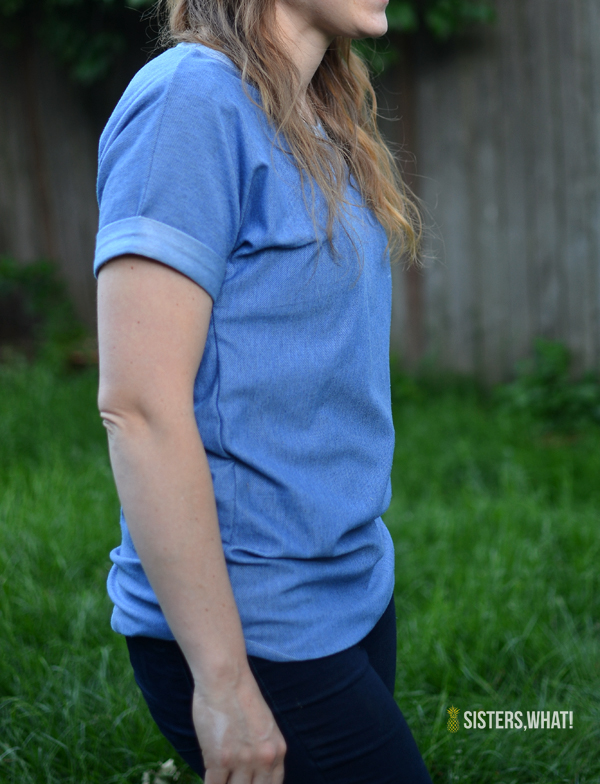Easy DIY dolman shirt with rolled sleeves!