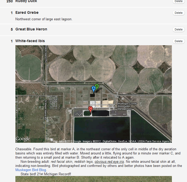 eBird Checklist with embedded google maps