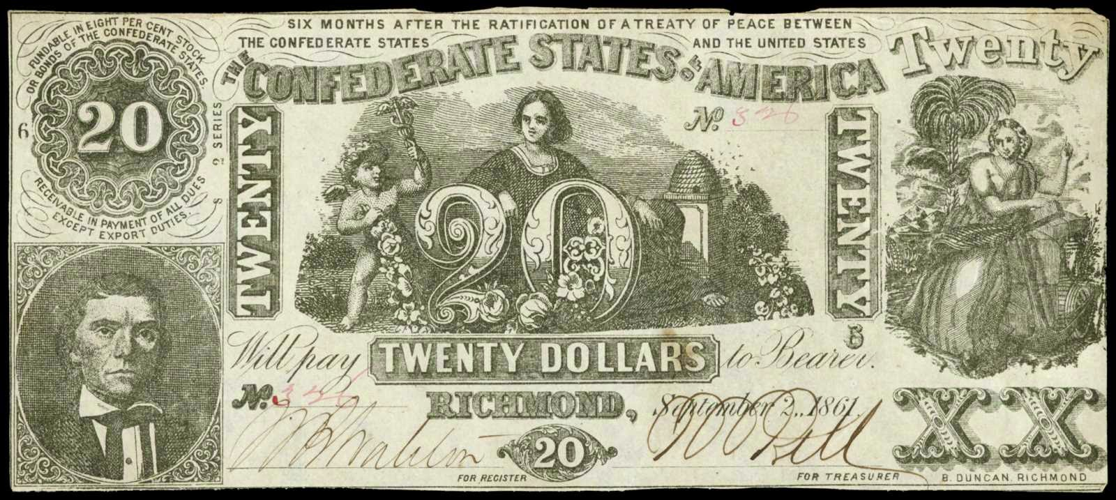 Confederate Currency 20 Dollar Bill 1861 T-20
