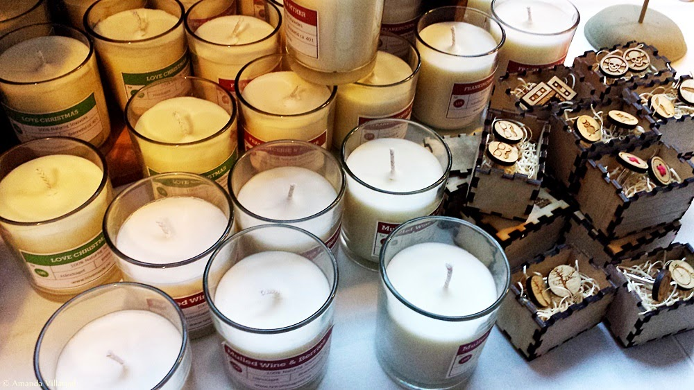 Christmas scented candles and hand-made cuffs