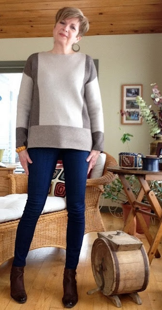 Vince sweater, Paige jeans and Paul Green boots