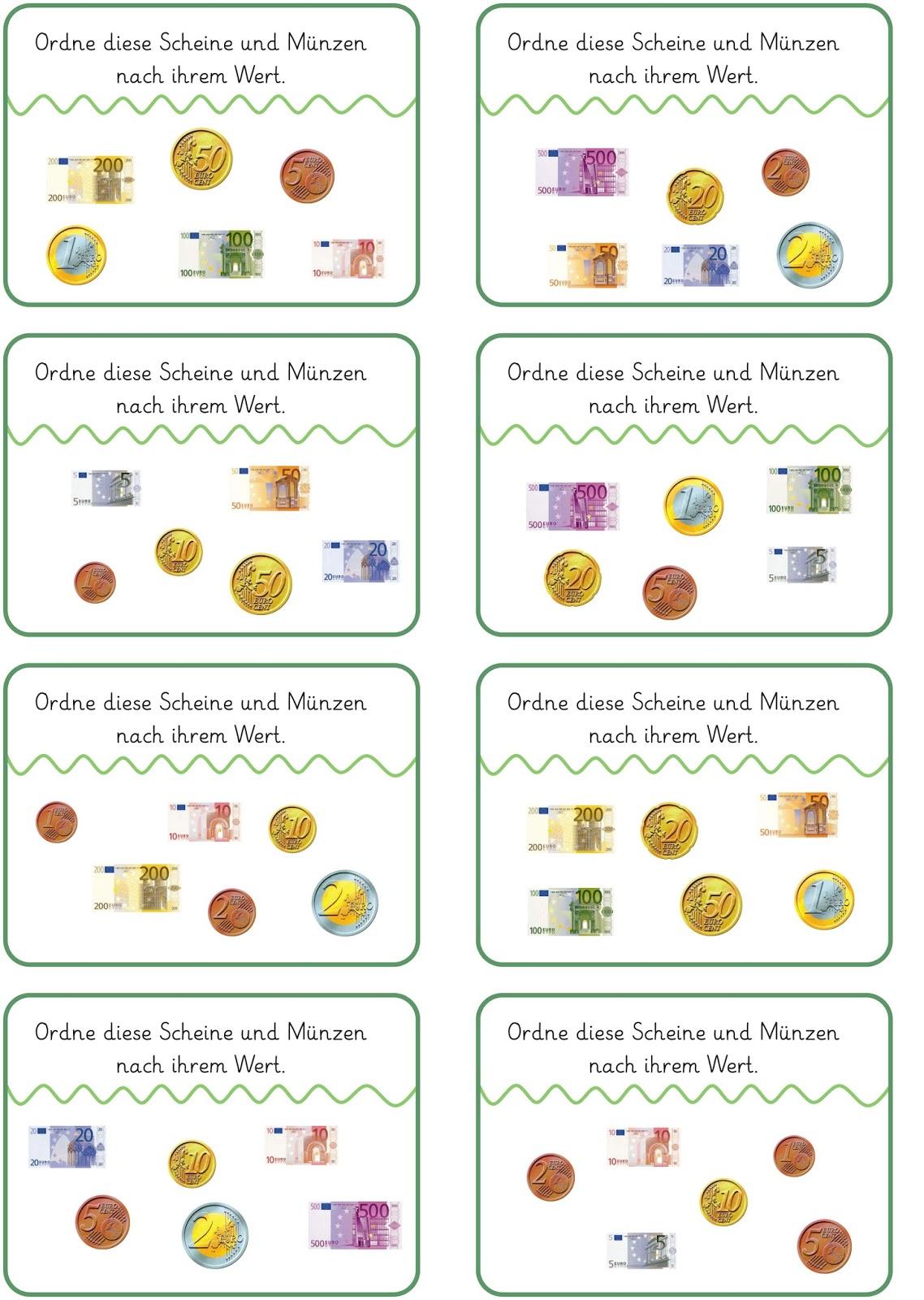 Lernstübchen: Münzen und Scheine ordnen