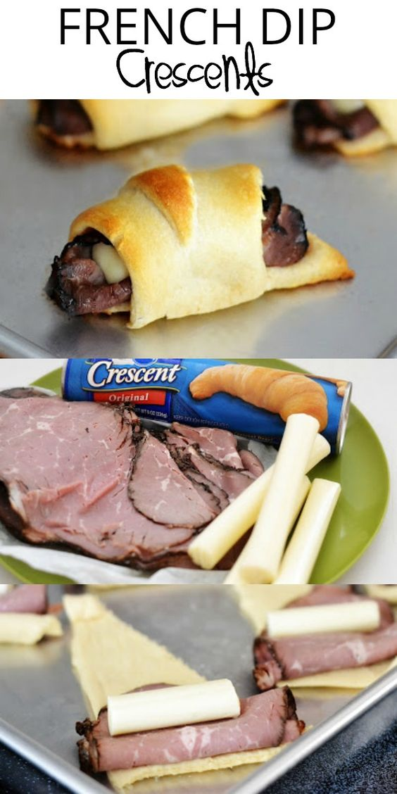French Dip Crescents are savory little beef sandwiches with melty cheese all wrapped up in crescent dough. Dip them in au jus sauce for an incredible lunch or dinner!