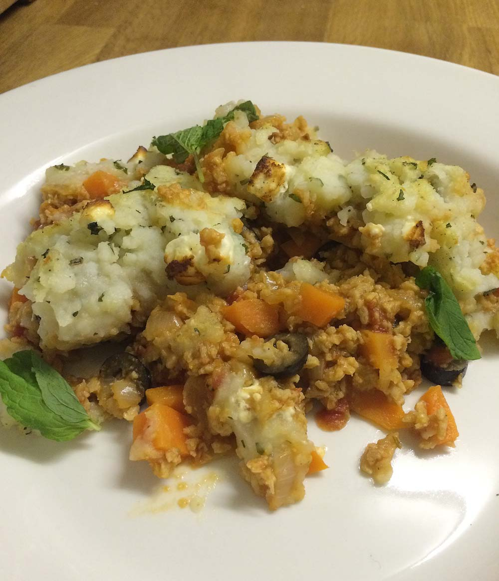 ... : Vegetarian Greek Cypriot Shepherds Pie with Feta Cheese Mint Mash
