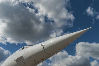 Pic of the front of Concorde's nose against cloudy sky