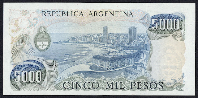 Argentina money currency 5000 Pesos banknote 1980 Mar del Plata Beach Resort coastline running along the Atlantic Ocean