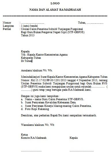 Contoh Surat Usulan Penerima Tunjangan Fungsional Guru Semua Surat