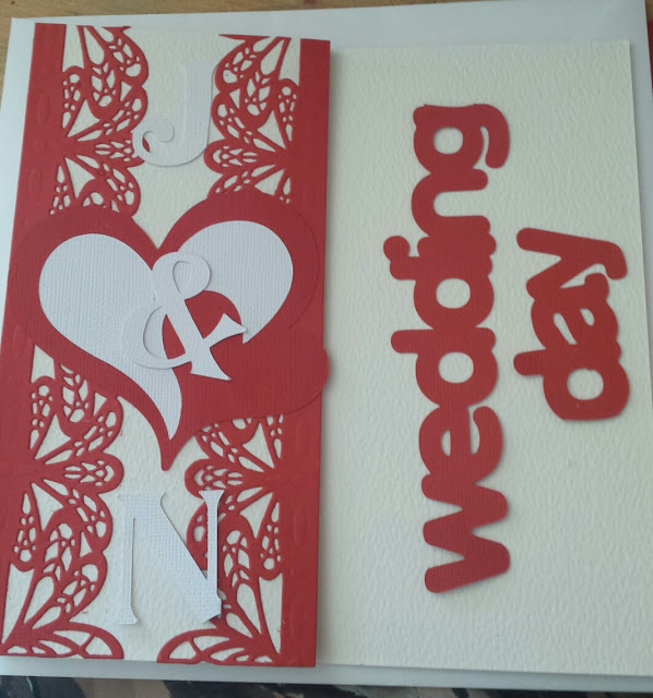 Wedding Day - 2 hearts cream hammered card - personalised