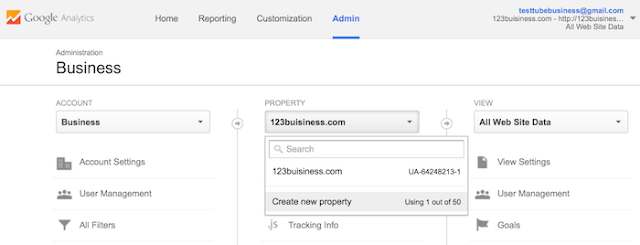 Google Analytics for your new site.