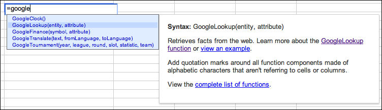 Making Google Spreadsheet Functions Easier To Discover And