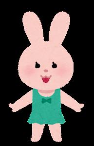 水着の動物のキャラクター(うさぎの女の子)