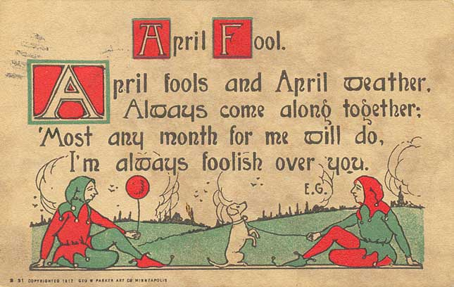April Fools' Day postcard - Geo. W. Parker Art Co. of Minneapolis - 1914