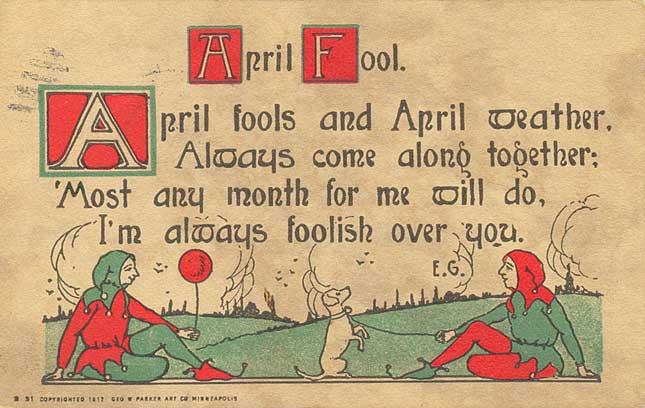 April Fools' Day postcard - Geo. W. Parker Art Co. of Minneapolis - 1914