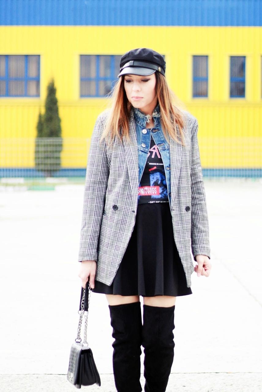 7e5e05987d7 Checkered Coat  similar HERE Denim Jacket  H M Skirt  Stradivarius Over the  Knee Boots  H M T-shirt  similar HERE