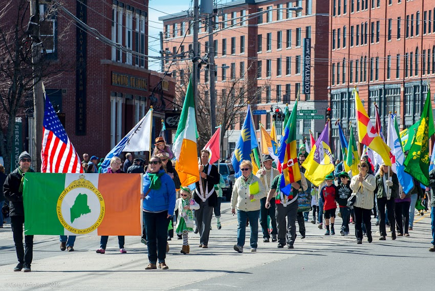 Portland, Maine USA March 2016 photo by Corey Templeton of thelocal Irish American Club's annual St. Patrick's Parade down Commercial Street