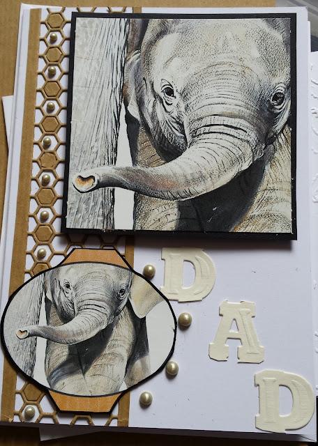 "Baby elephant Pollyanna Pickering 7"" x 5"" card - DAD"