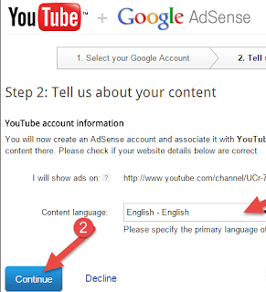 adsense select language click continue