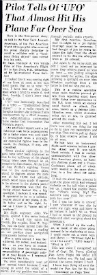 Pilot Tells of UFO That Almost Hit His Plane Far Over Sea - The New Mexican 3-11-1957