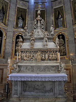 A monument of the remains of St. Dominic in the Basilica of St. Dominic, Bologna, Italy.