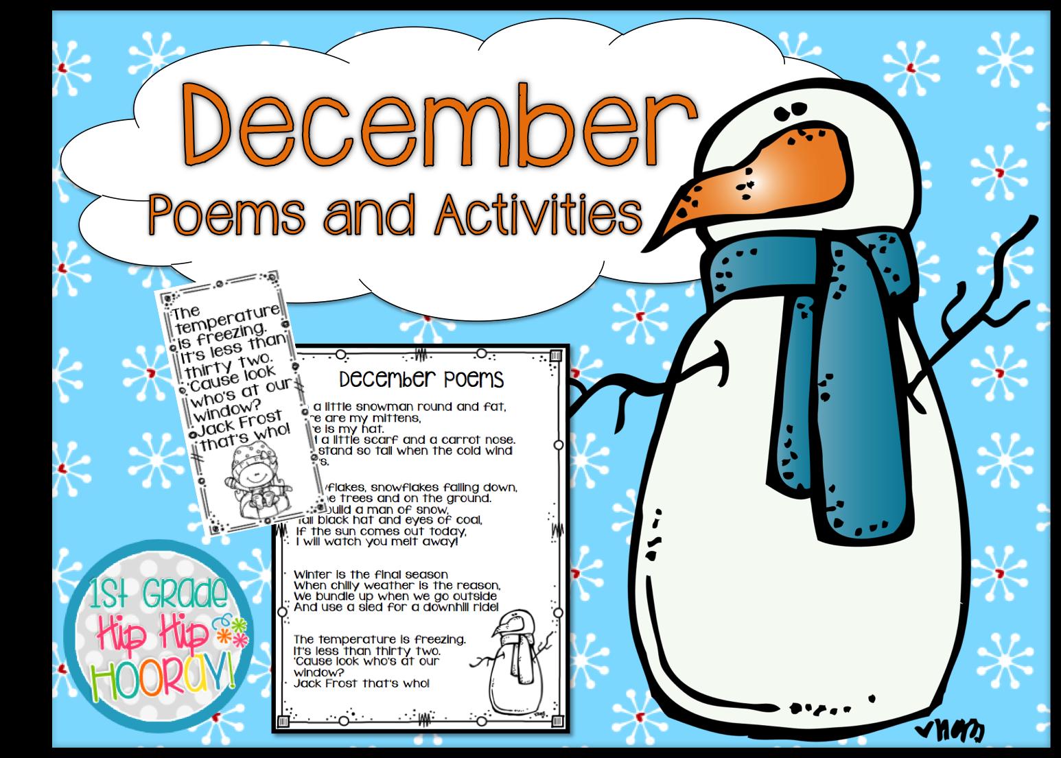 1st Grade Hip Hip Hooray!: December Poems and Activities!