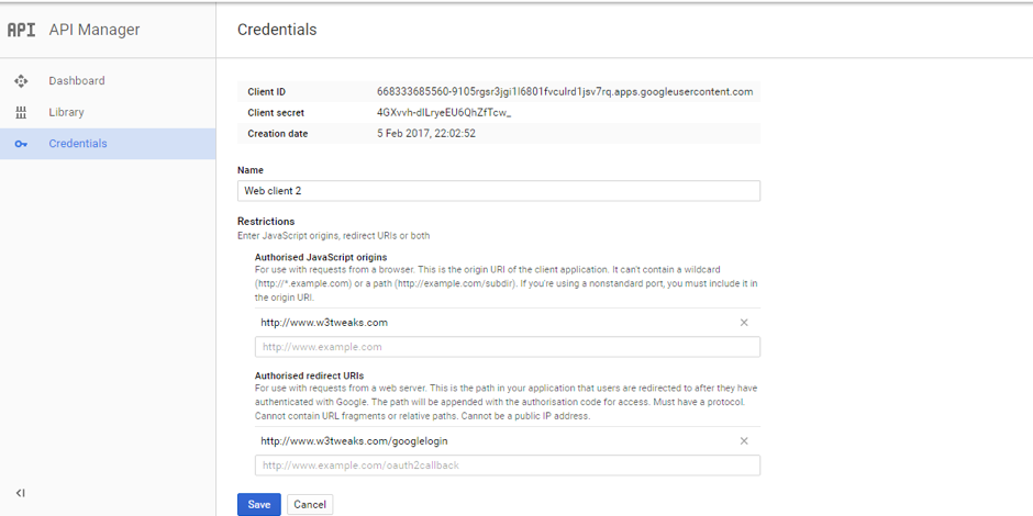 google developer console form