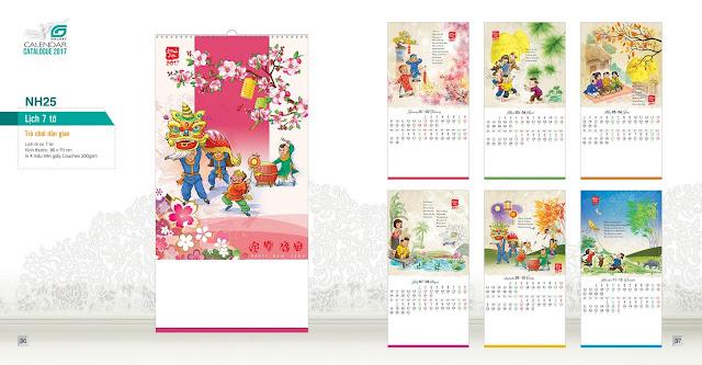 NH25 - Trò chơi dân gian , Lịch treo tường 7 tờ, in lịch, lịch trẻ em