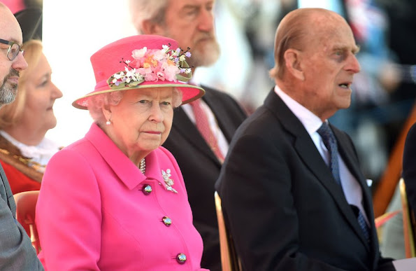 Queen Elizabeth II and Prince Philip, Duke of Edinburgh open the new Bandstand at Alexandra Gardens in Windsor.