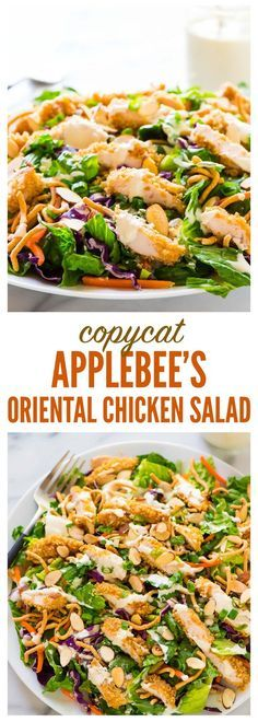 Copycat Applebee's Oriental Chicken Salad. A better homemade version of the original restaurant recipe anyone can make! Juicy oven fried chicken, fresh greens, crispy ramen noodles in a sweet and tangy oriental dressing